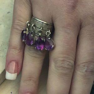 MEXICO Jewelry - VINTAGE MEXICO 925 LAB ALEXANDRITE 4 STONE RING